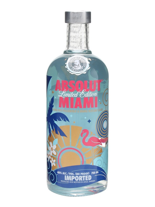 Absolut Miami : Buy Online - The Whisky Exchange - A limited edition of Absolut Vodka, styled with sunshine, palm trees and waves as a show what Miami is known for. Flavoured with Passionfruit & Orange blossum, this one sounds perfect for sipping o...