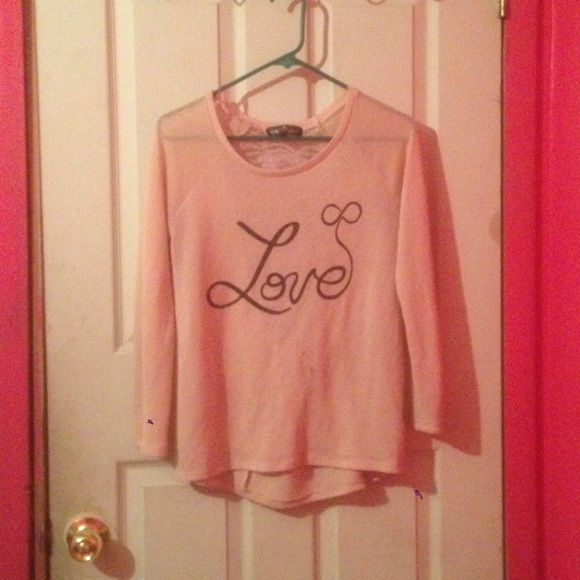 Long sleeve , See Through Top  Light Pink, See Through, Top , High Low Shirt Tops Tees - Long Sleeve