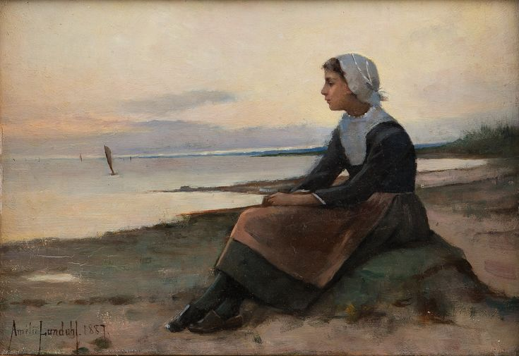 Amelie Lundahl (Finnish) 1887. Girl in Bretagne