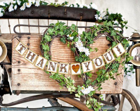 Thank You Sign - Rustic Wedding Banner Photo Prop - Wedding Sign -Wedding Decoration