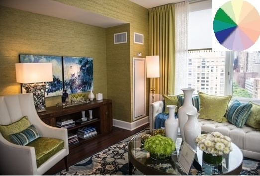 ANALOGOUS: This room is a great example of an analogous room. Following the defintion of neighboring colors on the color wheel, the room has the primary color of greem with secondary and terchiary accents both blue-green and blue.
