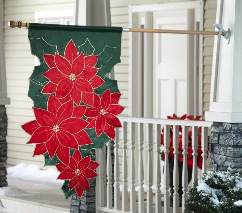 """Christmas Poinsettia Outdoor Holiday Flag Or Banner By Collections Etc by Natures Touch. $9.97. A stunning outdoor decoration you can display throughout the winter holidays! Made of 100% Polyester, this banner is quite durable and can be used year after year. Measures 23""""L x 43""""H. (For wooden flag pole and bracket set - sold separately - see item 24475.)"""