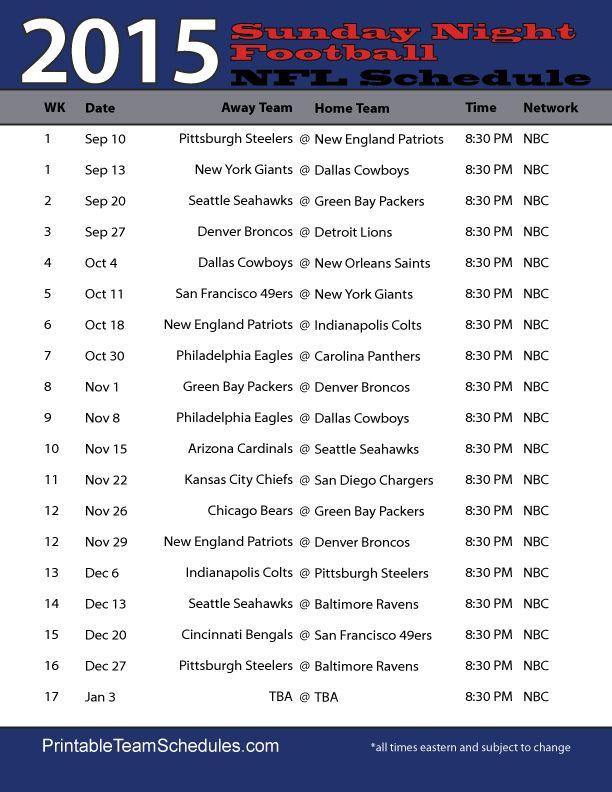 NFL Sunday Night Football Schedule