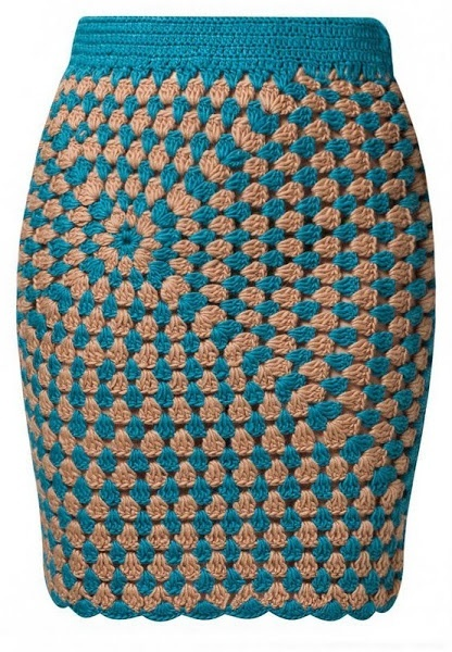 Granny square cardigan and skirt (interesting asymmetrical pattern).