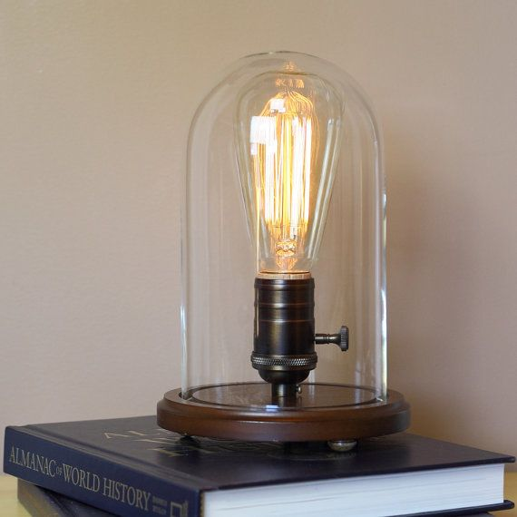 table desk lamp with edison light bulb and glass dome vintage style bell. Black Bedroom Furniture Sets. Home Design Ideas