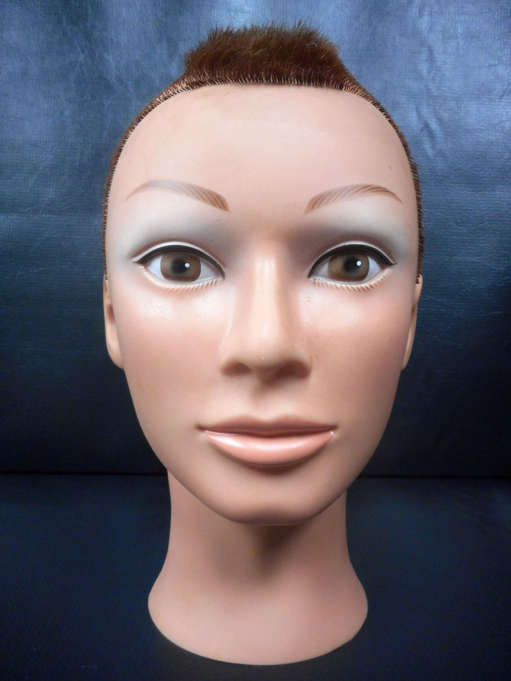"Vtg Dannyco Mannequin Head 10"" Shaved Red Mohawk Hair Cut, Store Display"