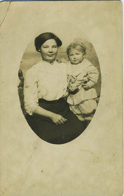 Smiling Edwardian mother and child postcard