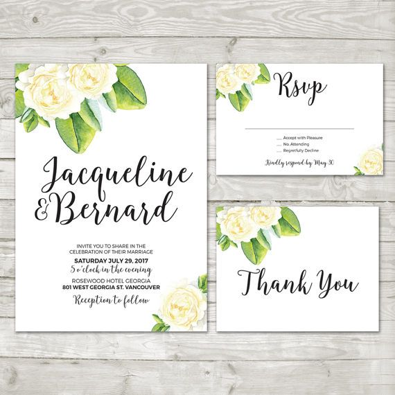 White Flower Wedding Invitation  Green Wedding by LMNDesignStudio