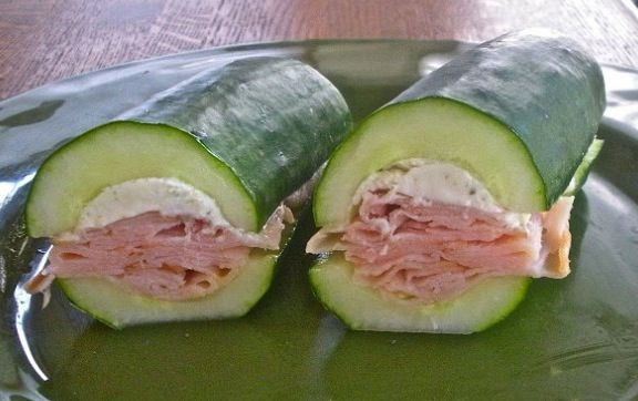 Cucumber Sandwich! Scoop out the guts and fill with your favorite sandwich ingredients. A low carb alternative to bread.
