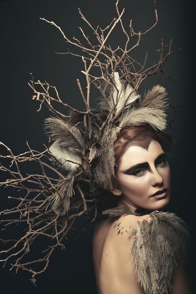 Feathers and twigs headpiece. Woodsy. Nature.
