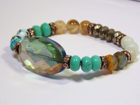 Gorgeous Stretch bracelet with a variety of gemstones and Czech Glass. Fits a wrist up to 6 1/2 inches #fashion…