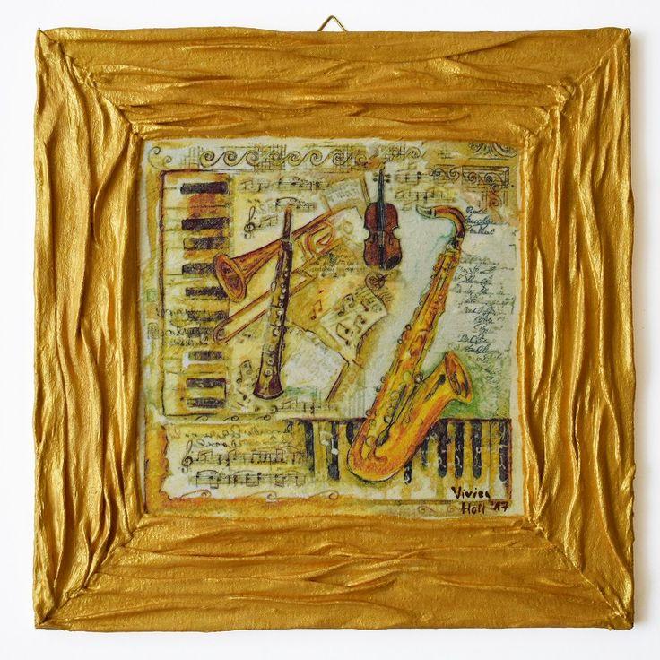 Music series – Music world (Zene sorozat – Zenevilág) - 25 x 25 cm, 2017, https://www.vivienholl.com/termek/zene-sorozat-zenevilag/ #paverpol #napkin #szalvéta #music #zene #pentart #vivienholl