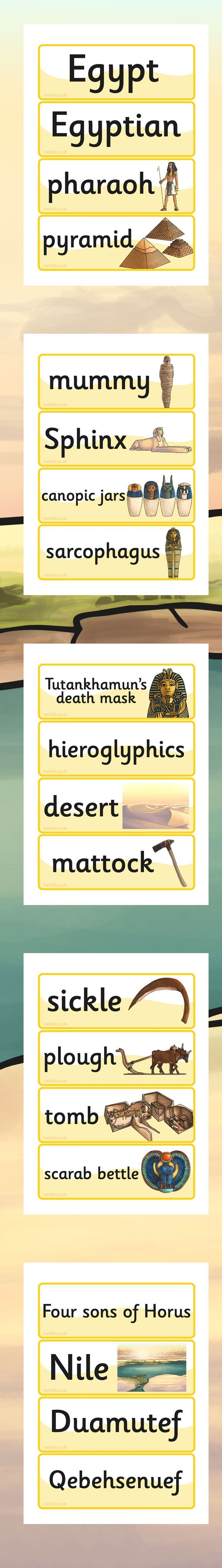 KS2 Ancient Egyptian Word Cards