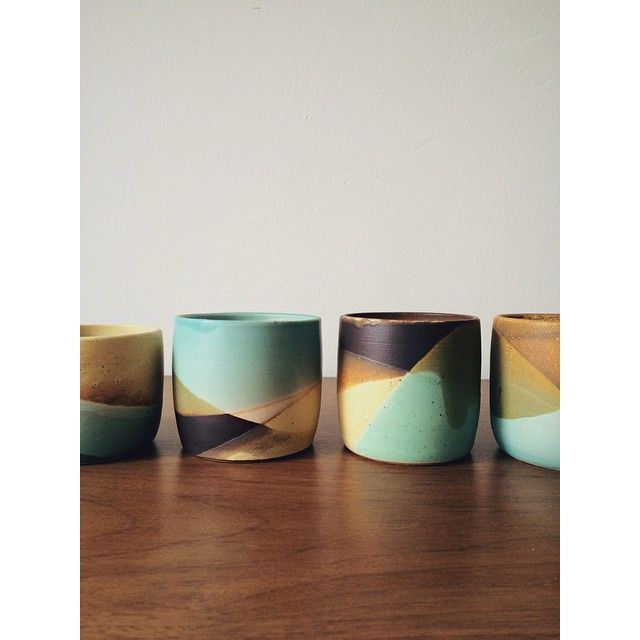 Love the lines made by dipping these on various angles in different glazes.