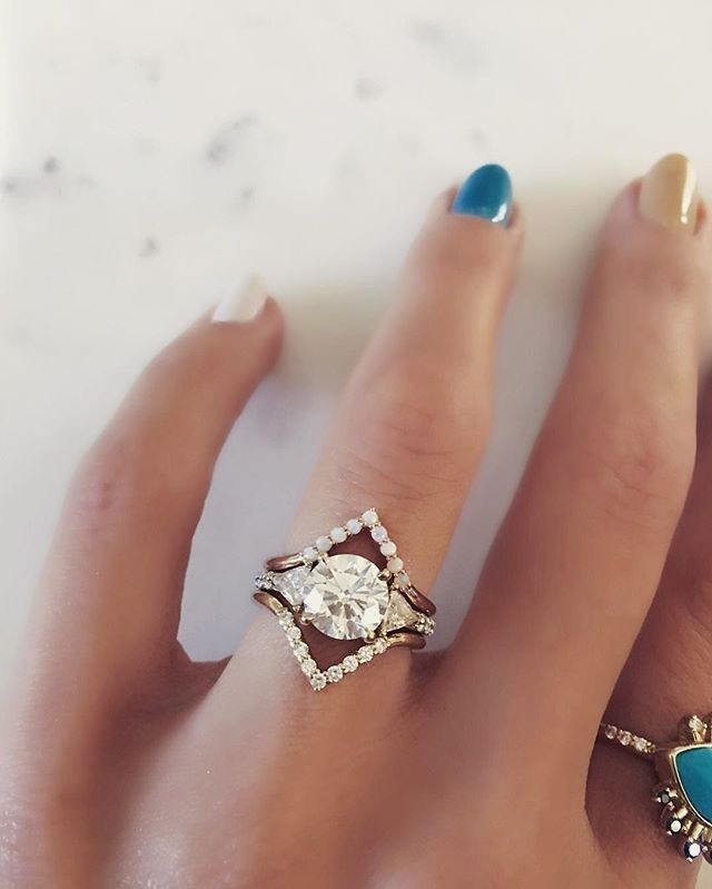 Triangle bands Australian Opals set in 14k Rose Gold & White