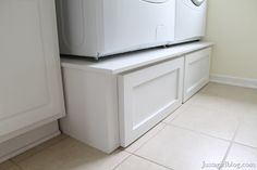 DIY Pedestal Drawers for laundry room. Love them, but then I would have to keep the floor clear of dirty clothes... impossible.