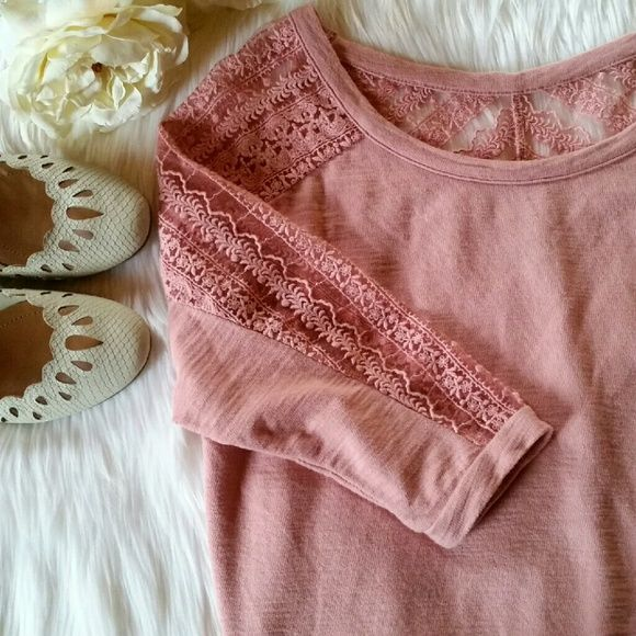 American Eagle Lace Shoulder Top Three-quarter length sleeves. Dusty pink color. Lace shoulder and sleeve detail.  Excellent condition.   Size S American Eagle Outfitters Tops