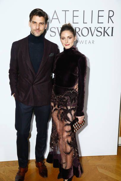 Olivia Palermo and Johannes Huebl attend the Swarovski Eyewear Diner as part of Paris Fashion Week at Hotel Crillon on January 22 2018 in Paris France