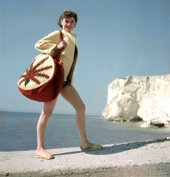 Audrey Hepburn on the beach in Rottingdean, East Sussex, England 1951.