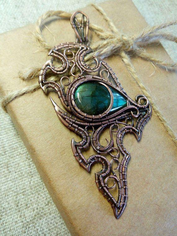 Dragon Eye Wire Wrapped Labradorite Pendant Labradorite Wire