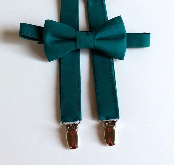 Dark Teal Bowtie and Suspenders Set  Infant by kellybowbelly
