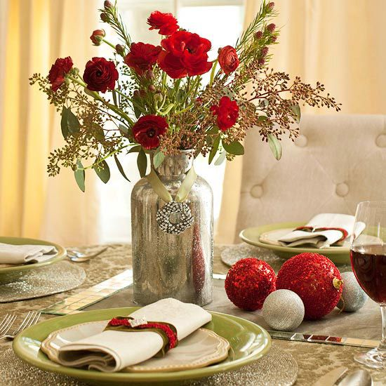 love the little wreath on ribbon around the vase   - Holiday Flowers Table Centerpiece