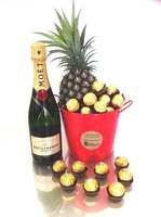 Moet Gift Bucket + Chocolate + Pineapple - Free Delivery