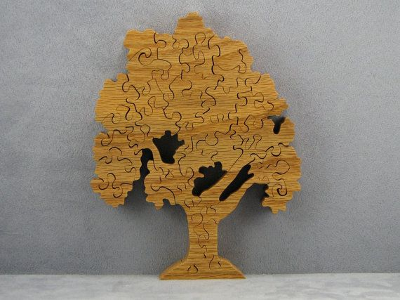 34 pieces, made of solid oak wood, hand cut and finished with Danish oil. A somewhat difficult puzzle with minimal straight edges and unpainted. Comes in a box that has a picture. If you prefer harder puzzles, dont use the picture! As wood characteristics may vary, the piece