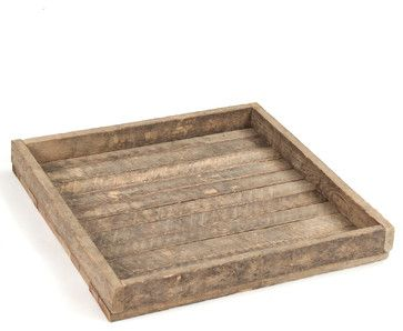 Homestead Rustic Lodge Reclaimed Wood Square Tray transitional-serving-trays