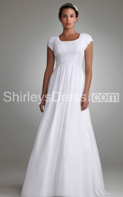 Simple Short Sleeve Wedding Dress With Draped Bodice