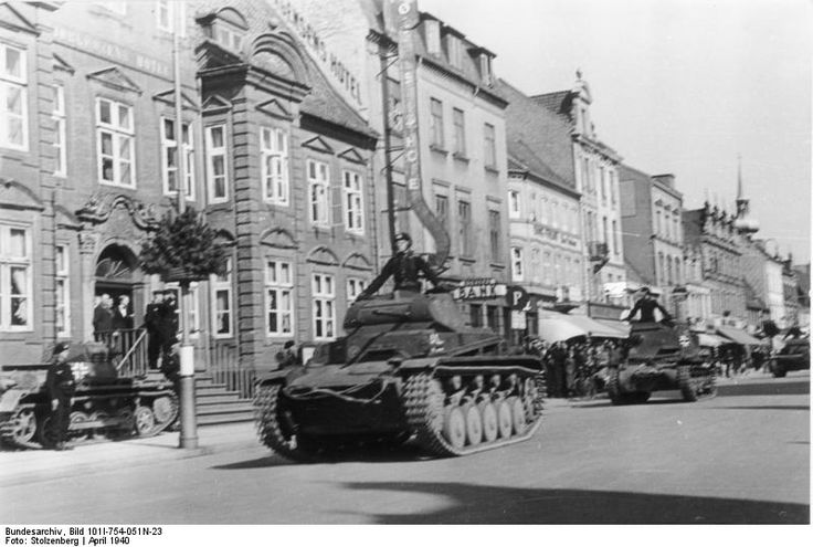 German Panzer II and Panzer I light tanks in a town in Denmark, Apr 1940. (German Federal Archive: Bild 101I-754-051N-23)