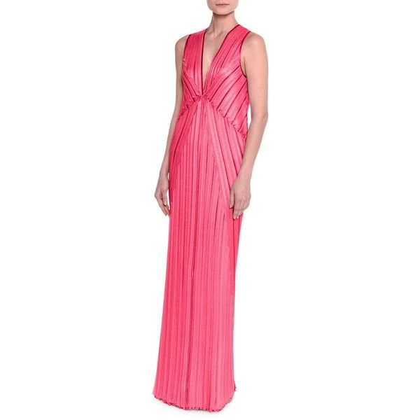 Missoni Sleeveless V-Neck Pleated Knit Gown (87.145 RUB) ❤ liked on Polyvore featuring dresses, gowns, fuschia, pink sleeveless dress, v neck evening dress, pink gown, pink dress and pink ball gown