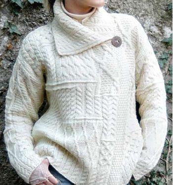 Womens Aran Irish style Patchwork Sweater by Carraig Donn