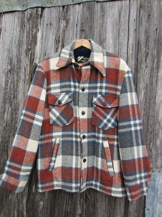 70s does 50s Plaid Wool Jacket by Sears in Rusty Brown and Grey, Men's M // Vintage Lined Lumberjack Jacket