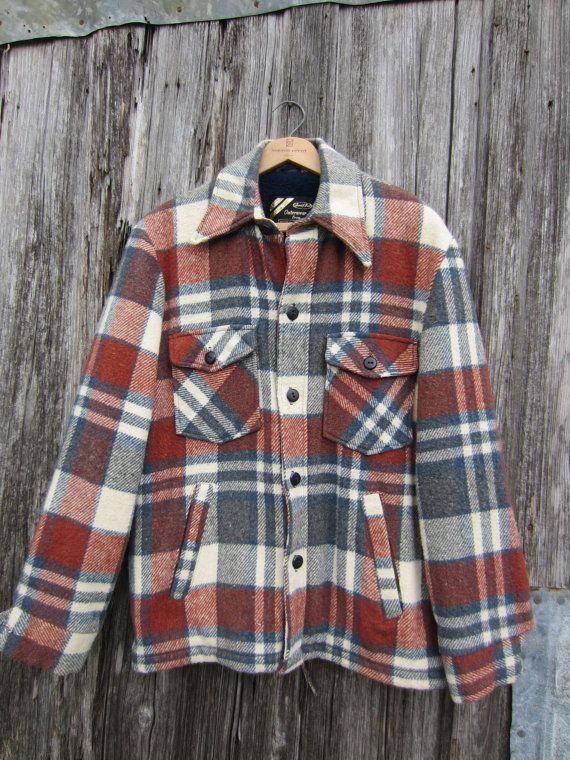 70s does 50s Plaid Wool Jacket by Sears in Rusty Brown and Grey, Men's M // Vintage Lined Lumberjack Jacket
