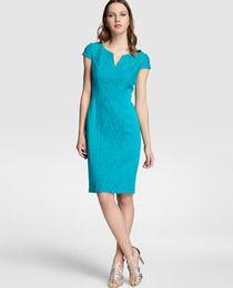 Vestido de mujer Adrianna Papell en azul con encaje central