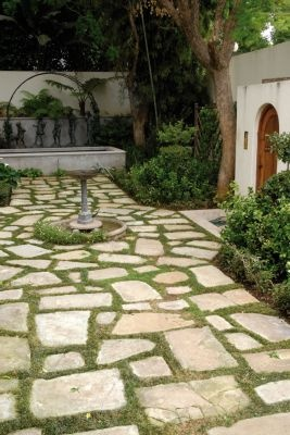 Interplanting random sandstone pavers with mondo grass prevents a functional walkway from appearing to rigid. Photographs: Connall Oosterbroek