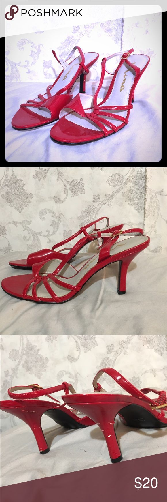Red strappy high heels. Red strappy high heels size 7 1/2. There is some scuffing on the heel which can be seen in the photos. Shoes Heels