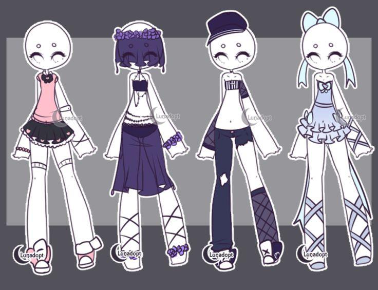 Character Design Set : Set gacha outfits by lunadopt on deviantart cute
