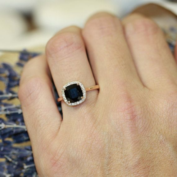 14k Rose Gold Black Spinel Halo Diamond Engagement by LaMoreDesign