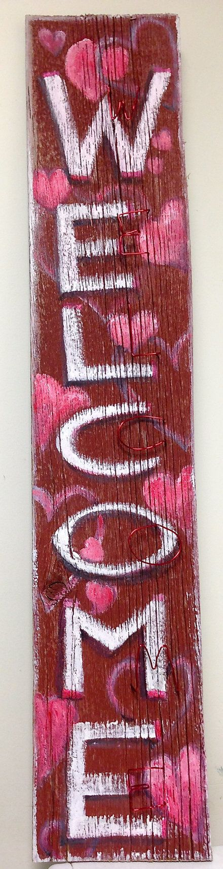Valentine welcome sign from red barn wood by NewVintageHappening, $50.00