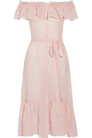 Pastel-pink and white cotton-voile Button fastenings through front 100% cotton Dry clean