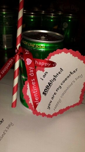 Valentines Day gift for coworkers. Cute little 8oz sodas, ribbon from Michaels, paper straws from Target or Michaels