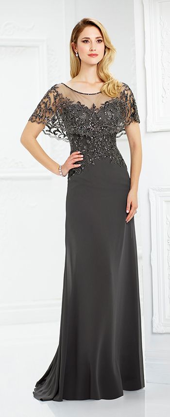 Chiffon slim A-line gown features an attached hand-beaded scalloped illusion capelet creating short sleeves, illusion bateau neckline over beaded sweetheart bodice, beaded illusion back, sweep train.