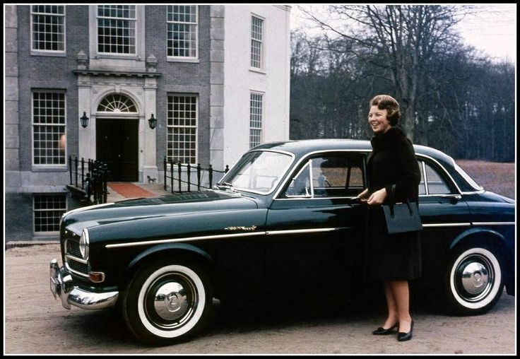 Queen Beatrix of the Netherlands with a Volvo Amazon.