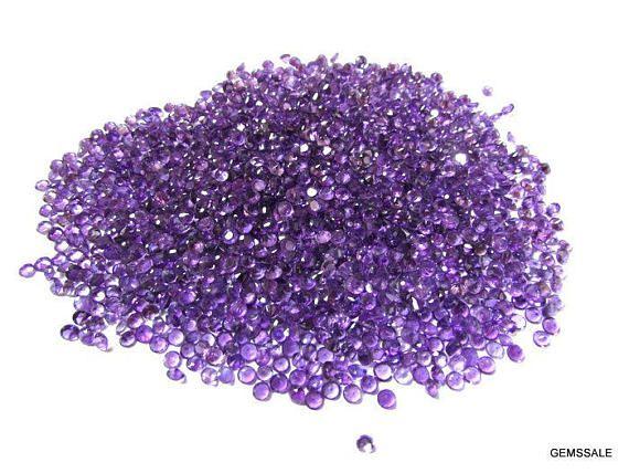 50 piece 3mm purple amethyst round faceted wholesale gemstone