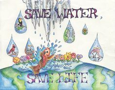 Poster: This poster tells us that by saving water it save lives. As water is a very precious resource, we have to save it. If we don't have water, all living things including humans animals and plants will die. This poster aims to tell us that we have to take responsibility and conserve water right now.