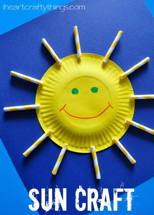 Paper Plate and Straws Sun Craft for kids from iheartcraftythings.com.