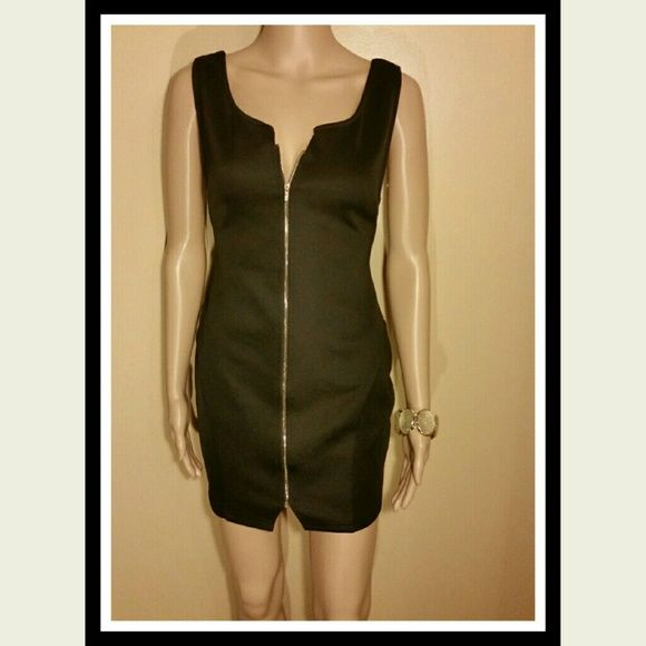 """Lov Posh Dress SEXY Lov Posh short black dress. With a full front zipper, spaghetti strap back detail, sex appeal is  easy to accomplish wearing this confidence builder. Approximately 30"""" long measured from top of the shoulder strap to the bottom hem. SORRY NO TRADES lov posh Dresses"""