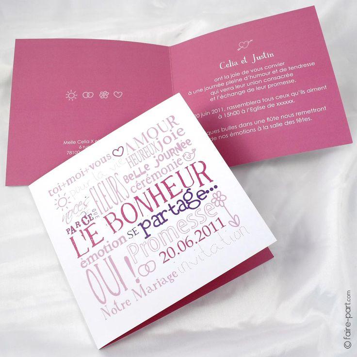 46 best Faire-part mariage images on Pinterest Invitations
